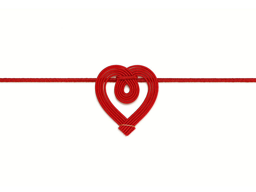 水引飾りゴム ミニハート 赤 10cm包 水引飾りゴム ネットストア
