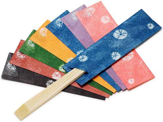 写真左から、黒、紅樺、松葉、だいだい、濃藍、小むらさき、さくら
