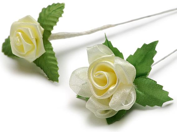 写真左:00-13603-243 ミニ造花薔薇の花イエロー小 写真右:00-13603-244 ミニ造花薔薇の花イエロー大