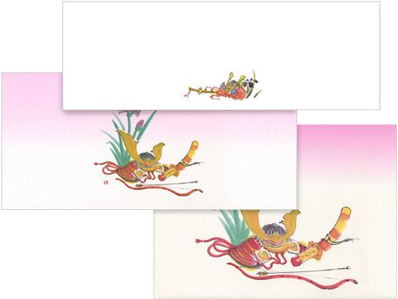 上:07-18101-105 箸紙(四季シリーズ)かぶと 中:00-18302-707 掛紙 かぶと 小 下:00-18302-705 掛紙 かぶと 中