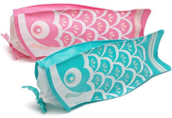 上:00-15310-674 不織布巾着袋こいのぼりピンク 下:00-15310-676 不織布巾着袋こいのぼりライトブルー