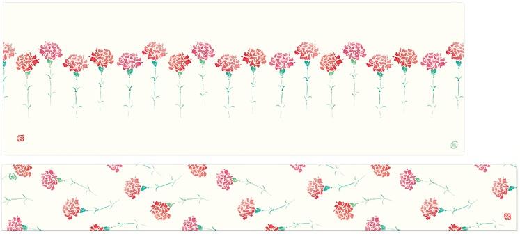カーネーションマーチ 掛紙ミニ幅広サイズと帯紙の全体図
