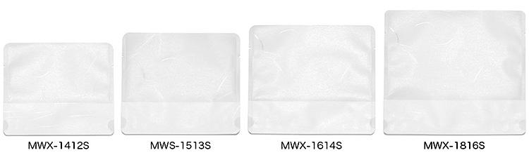 MWX-1412S(幅140×底マチ72×高さ120mm)、MWX-1513S(幅150×底マチ72×高さ130mm)、MWX-1614S(幅160×底マチ72×高さ140mm)、MWX-1816S(幅180×底マチ82×高さ160mm)