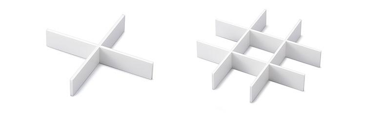 写真左:十字仕切 写真右:9ヶ仕切 ※組み立てた状態です