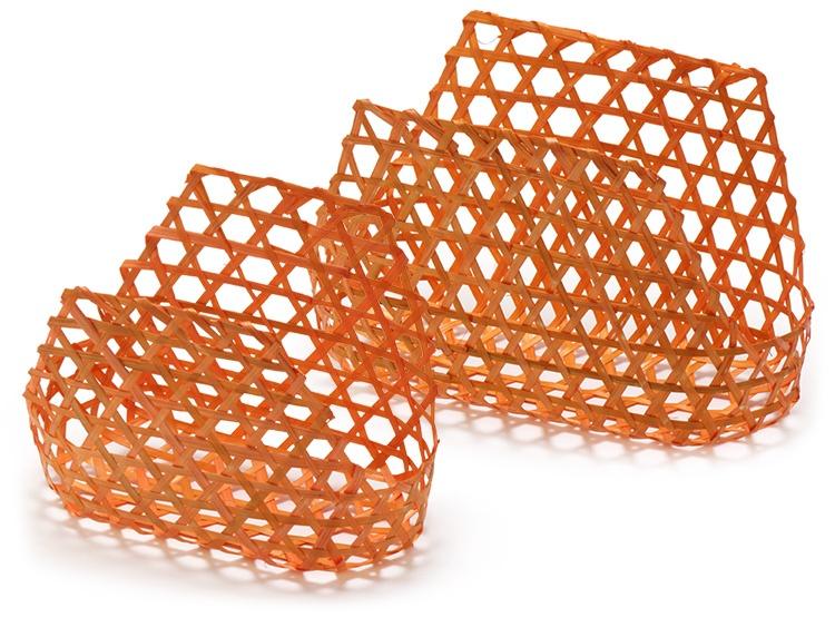 左より、00-14103-447 六つ目編バッグ 小 オレンジ、00-14103-438 六つ目編バッグ オレンジ