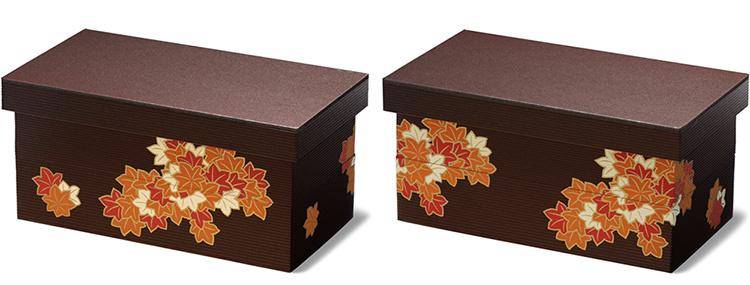 ユニ折箱 長型二段 大 秋深き 表裏の柄の違い