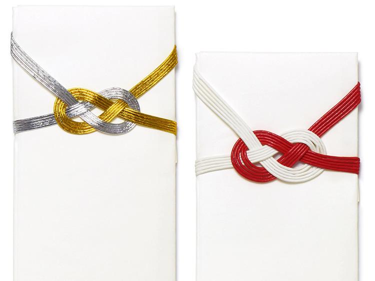 左より、07-15301-203 箸紙 京風 金銀水引 新、07-15301-204 箸紙 京風 紅白水引 新