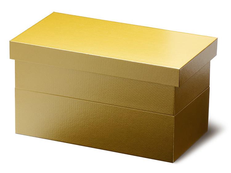 ユニ折箱 長型二段 小 金彩