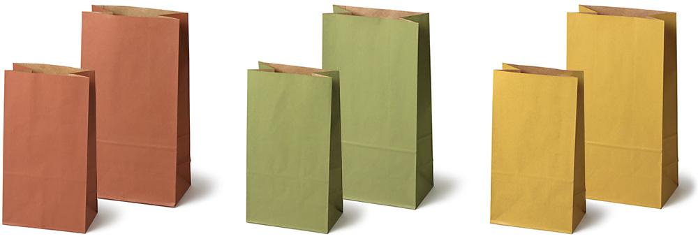 紙製角底袋:左から、れんが小・大、まっちゃ小・大、からし小・大
