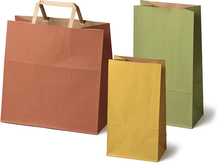 和色の角底袋と手提袋