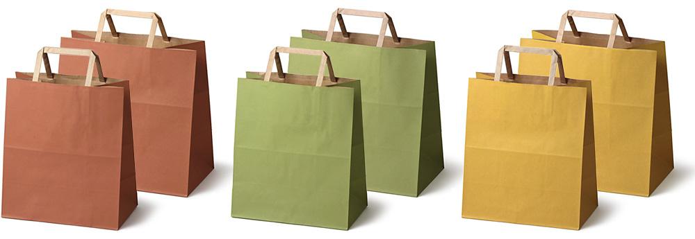 紙製手提袋:左から、れんが小・大、まっちゃ小・大、からし小・大