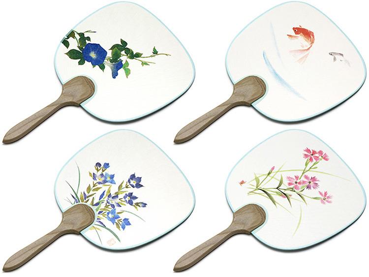 左上より:豆うちわ 朝顔、豆うちわ 金魚、豆うちわ 桔梗、豆うちわ なでしこ