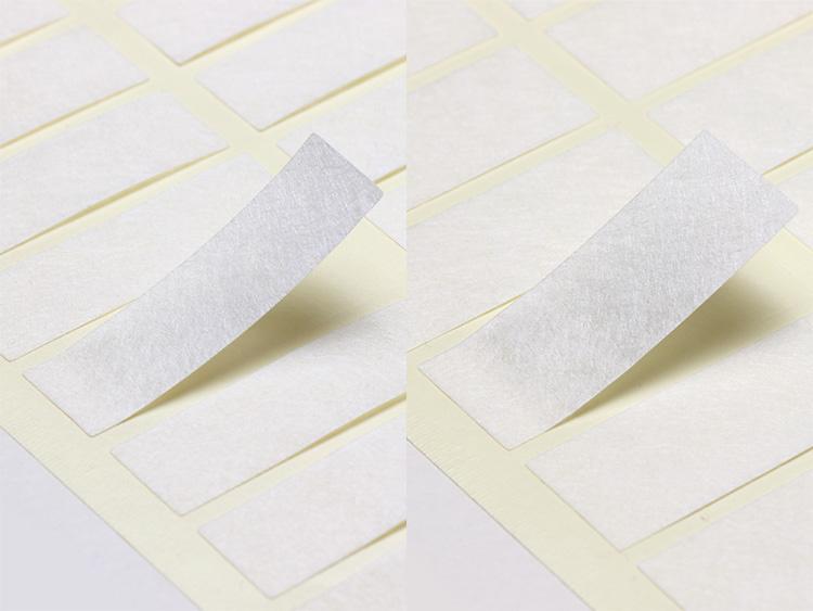 左:00-15519-130 箸帯巻シール 和紙無地 15×50mm、右:00-15519-131 箸帯巻シール 和紙無地 20×50mm