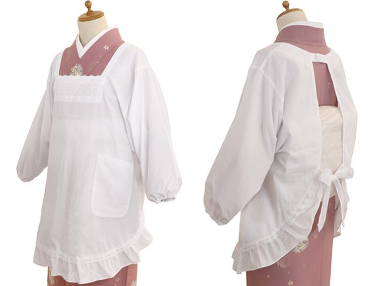 【和装の着用例】00-41006-201 割烹着 七分袖 フリーサイズ(身丈86.5cm、着丈67cm、肩幅46cm、袖丈45cm)