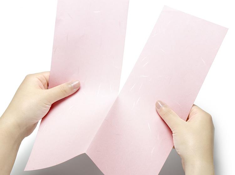 ミシン目に沿って手でちぎると簡単に細長のお品書きを作成できます