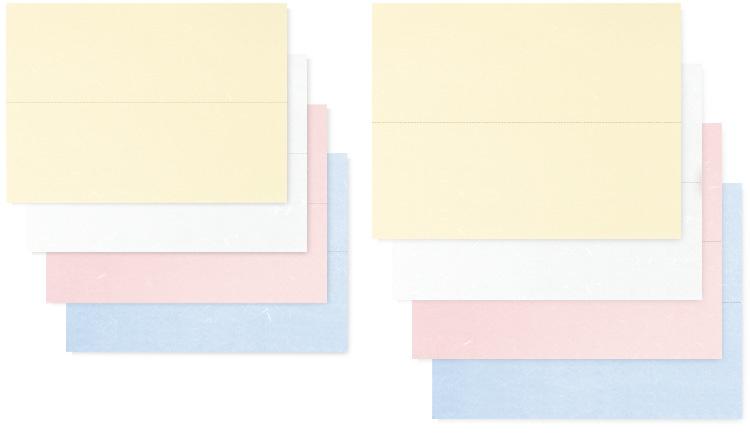 左上より(A4サイズ)、00-18801-622 クリーム、00-18801-621 白、00-18801-623 ピンク、 00-18801-624 ブルー、右上より(B4)、00-18801-626クリーム、00-18801-625 白、00-18801-627 ピンク、00-18801-628 ブルー