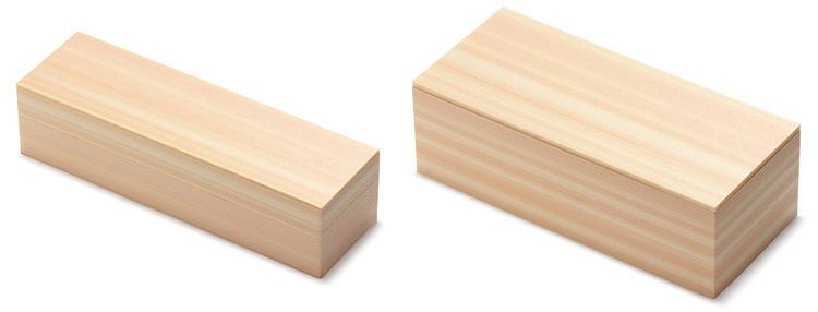 【左】00-12112-125 ユニ折箱 美山檜 恵方巻 【右】00-12112-124 ユニ折箱 美山檜 太巻