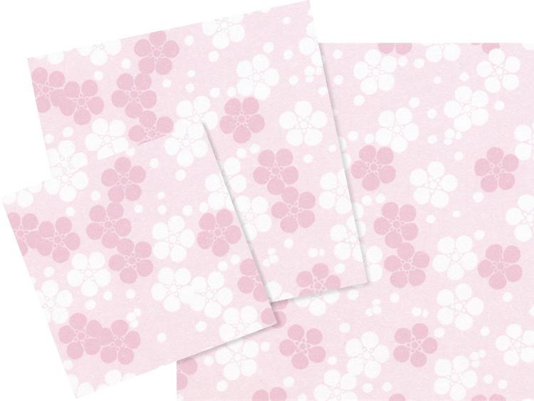 左より、00-18402-209 花小紋敷紙 うめ 3寸、00-18402-210 花小紋敷紙 うめ 4寸、00-18402-211 花小紋敷紙 うめ 5寸
