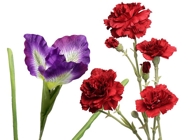 00-18502-422 造花 アヤメ ラベンダー、00-18502-300 造花 スプレイカーネーション 赤 新