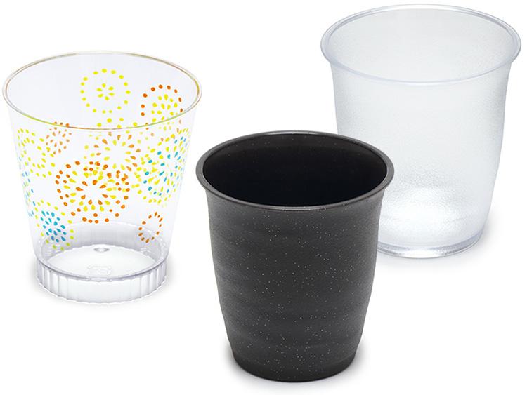 左から、IK71φ160ルチア 花火PS、耐熱PP なごみカップ 黒、なごみカップ 透明