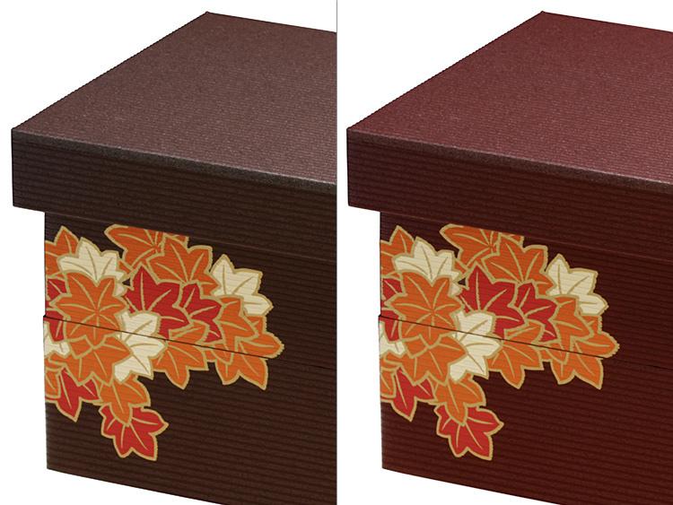 左がユニ折箱 長型二段 大 秋深き (旧タイプ)、右がユニ折箱 長型二段 大 秋深き 新(新タイプ) です。