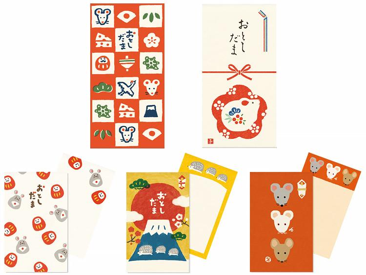 左上から、のし袋 子年縁起あつめ赤、のし袋 子年花結び梅、ポチ袋 ころころだるまねず、ポチ袋 めでた富士、ポチ袋 さんねずみ