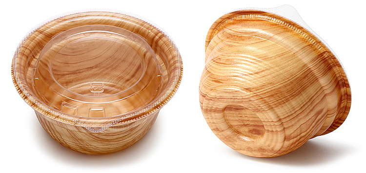 蓋をした容器の画像と、お椀の底の形状が分かる画像。