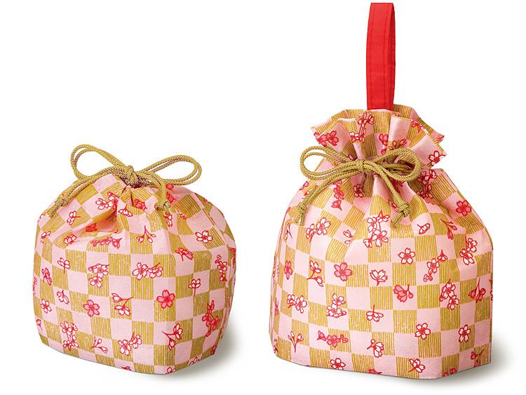 不織布巾着 市松桜FP2種の画像