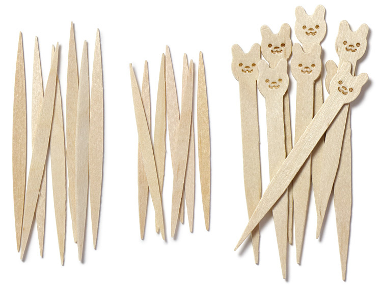 木製ピンチョス楊枝とアニマルピックの画像