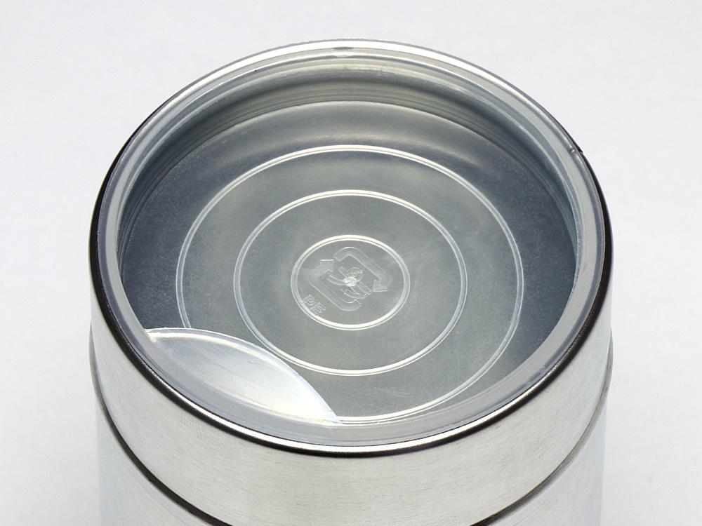00-16301-001 スチール缶 100g生地缶に、00-16301-011 缶用中蓋 100g用を付けた画像