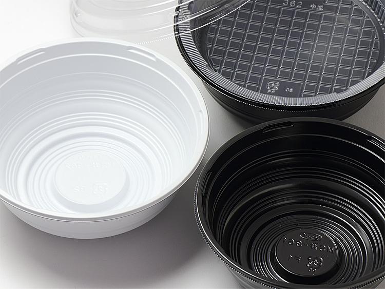 P製丼 耐熱 MS丼-362 白、P製丼 耐熱 MS丼-362 黒、P製丼 耐熱 MS丼-361 黒の画像