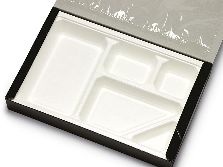 紙製弁当 黒 90-60 パルプモールド白 5ヶ仕切セットの画像