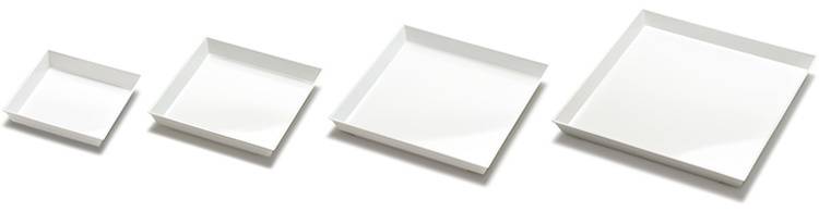ニシキ角皿白磁4サイズのバリエーション画像