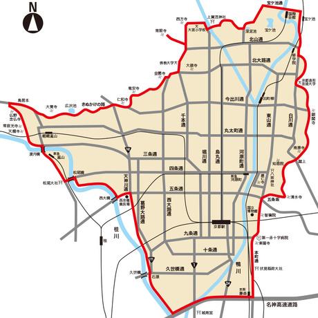 赤線で囲まれた範囲が配達地域です。地域内かご不明な場合はお尋ねください。( 西京区嵐山周辺は月〜金曜日の午前中のみ、京都駅ビルは午後のみ、清水方面11月~12月は午前中のみの配達。)